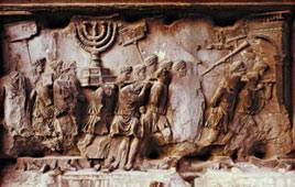 Relief on the Arch of Titus in Rome depicting the Temple treasures and Jewish slaves entering the city