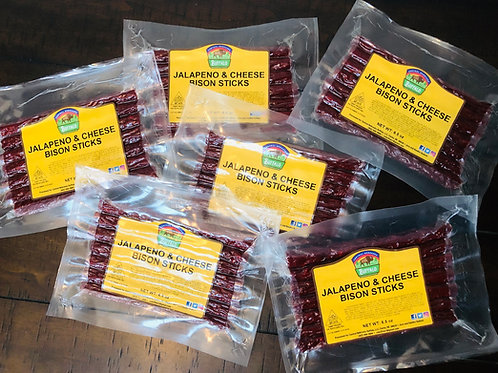 3-BISON JALAPENO/CHEESE JERKY STICK PACKAGES