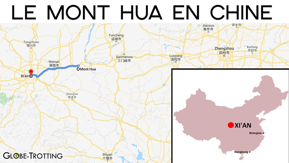 Carte mont hua chine