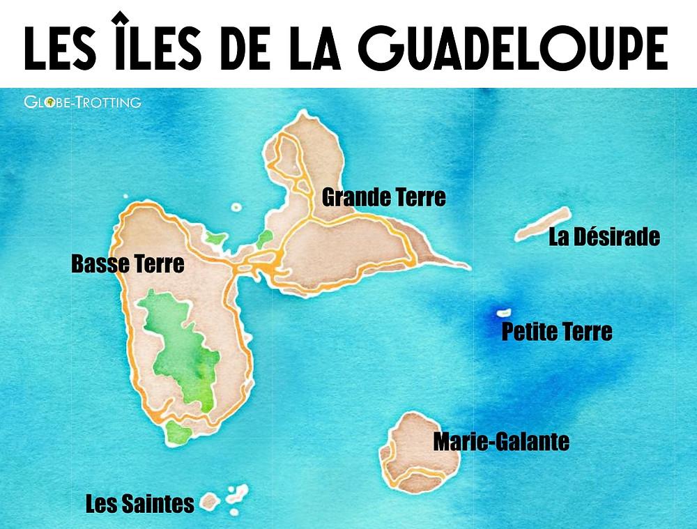 Carte des  îles de Guadeloupe