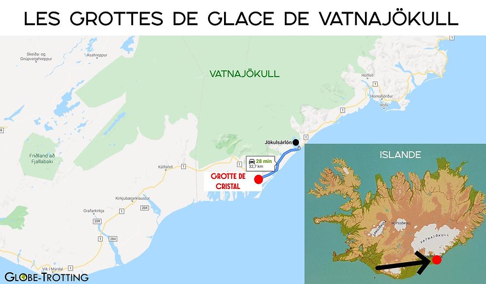 carte grottes de glace de Vatnajökull