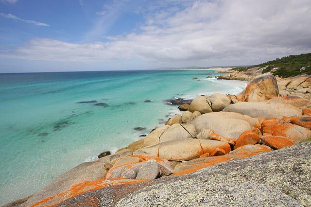 mer et terre Bay of Fires en Tasmanie