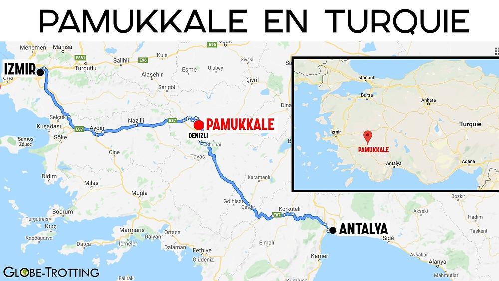 Carte de Pamukkale en Turquie