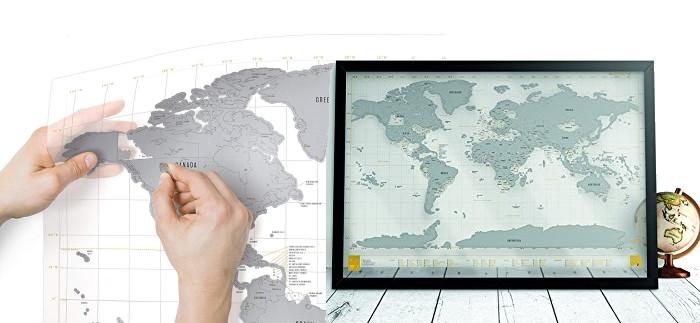 Carte monde à gratter transparente