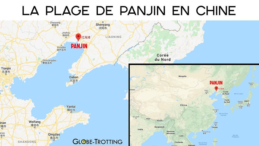 Carte plage de Panjin en Chine