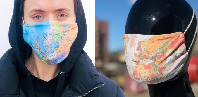 Masque visage carte du monde