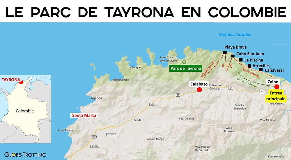 Carte du parc Tayrona Colombie