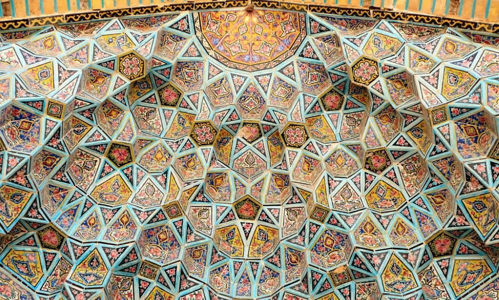 plafond mosquée rose iran