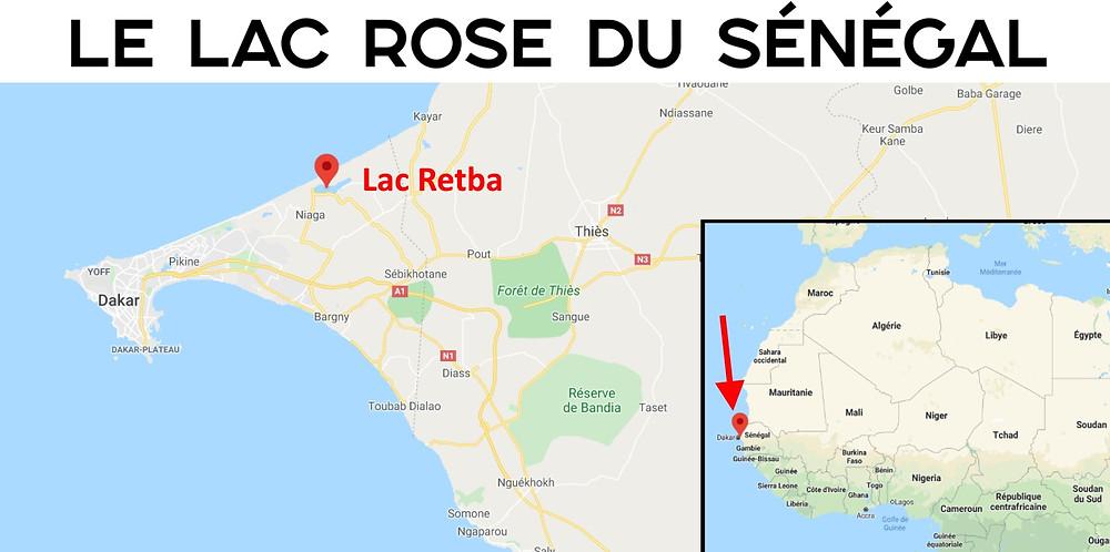 carte lac rose sénégal