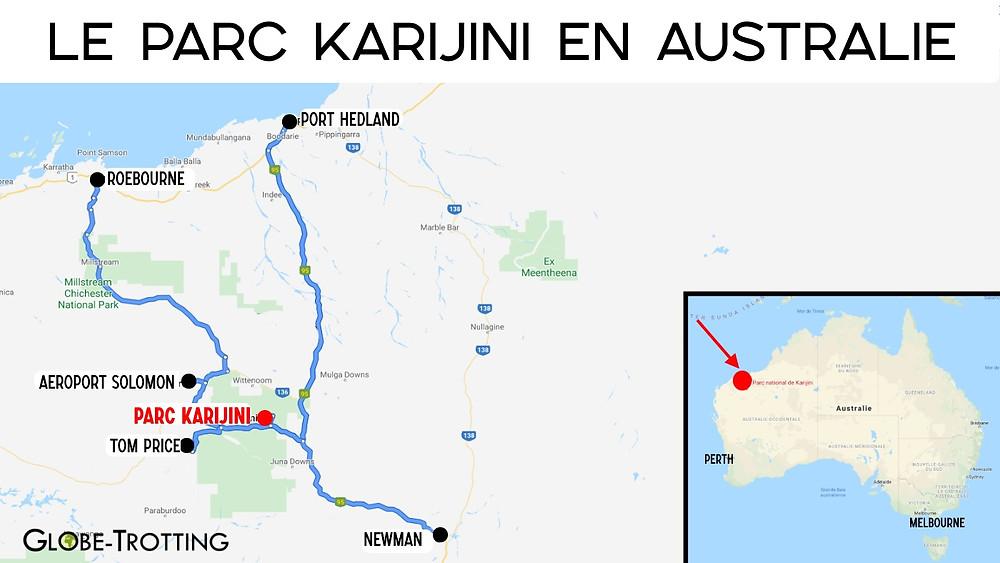 Carte Parc Karijini en Australie