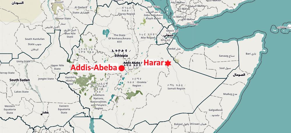 Carte Harar Ethiopie