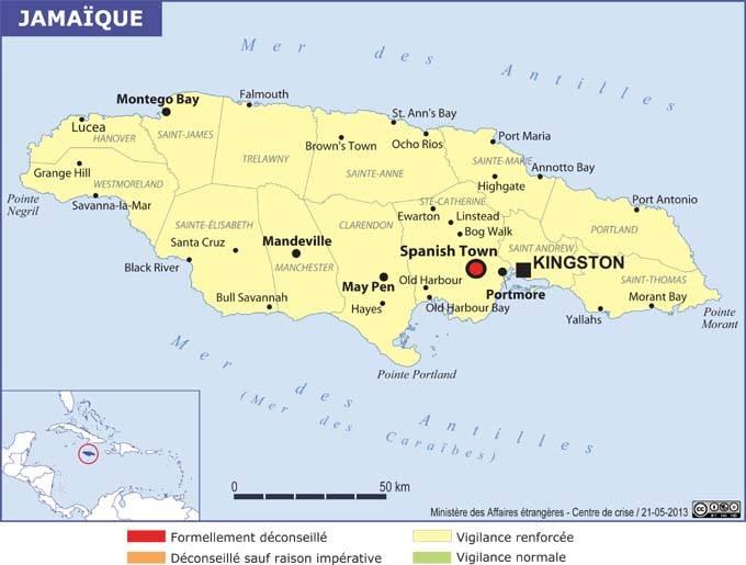 Jamaïque sécurité carte