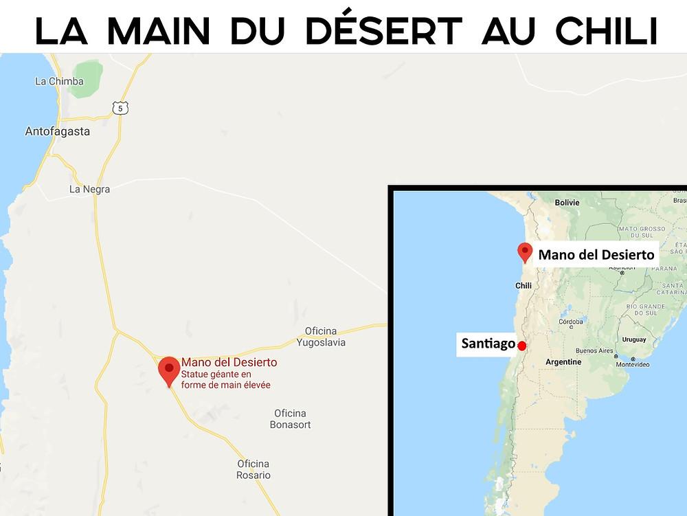 carte main du désert chilien