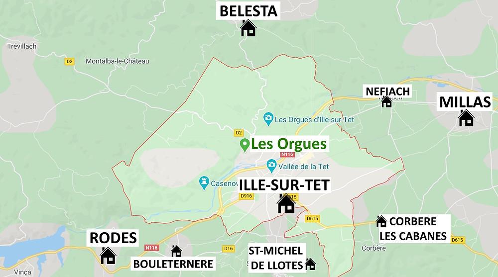 Carte des villages près d'Ille-sur-Tet