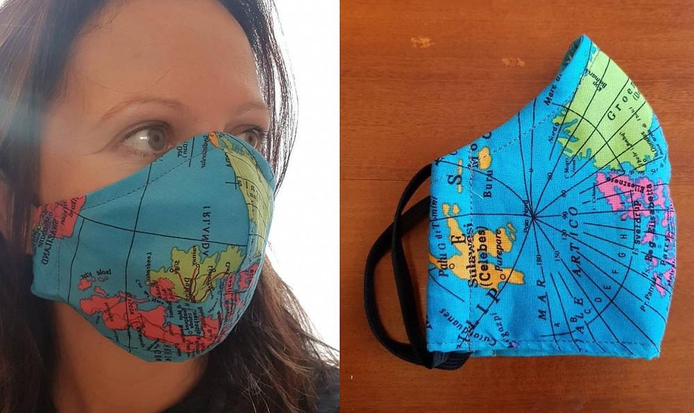 Masque tissu mappemonde covid