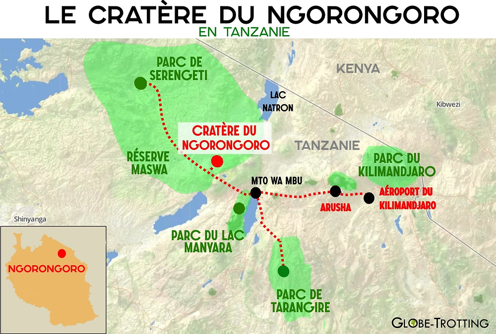 cratère Ngonrongoro Carte Tanzanie