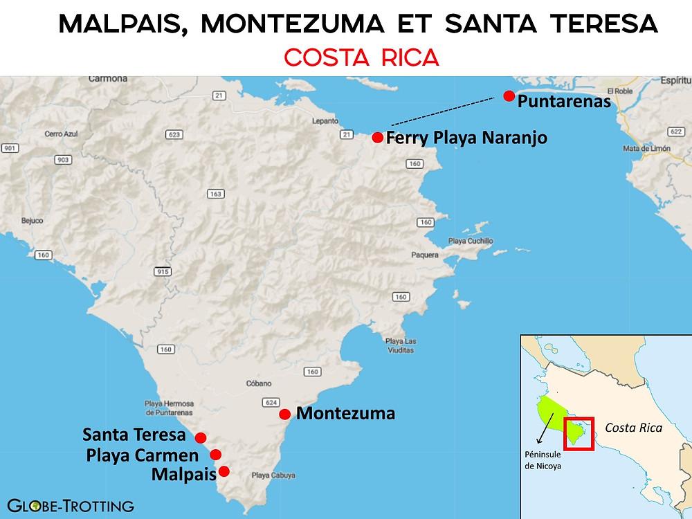 Carte péninsule Nicoya Malpais, Montezuma et Santa Teresa au Costa Rica