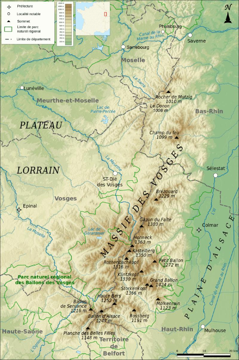 carte du Massif des Vosges