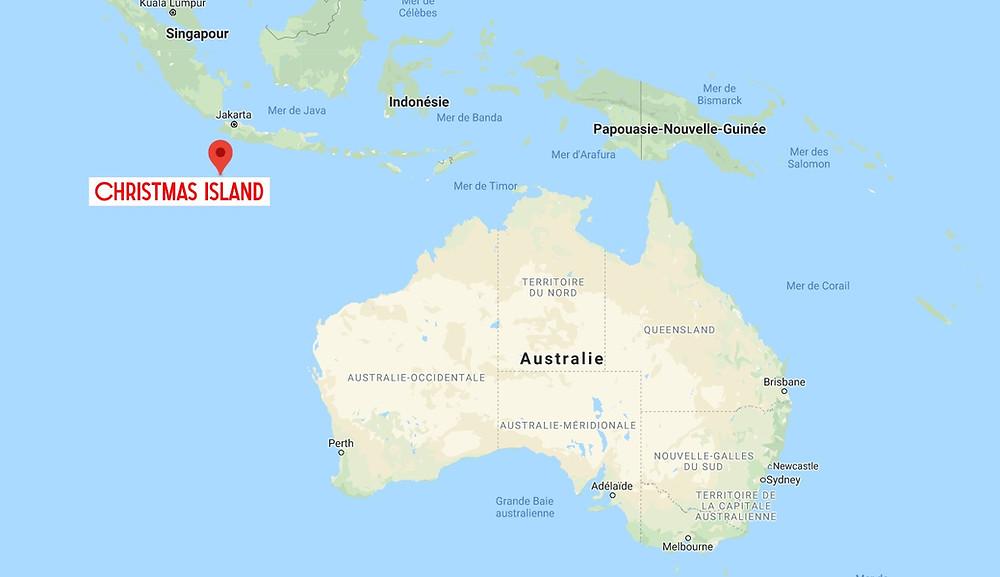 île Christmas carte map
