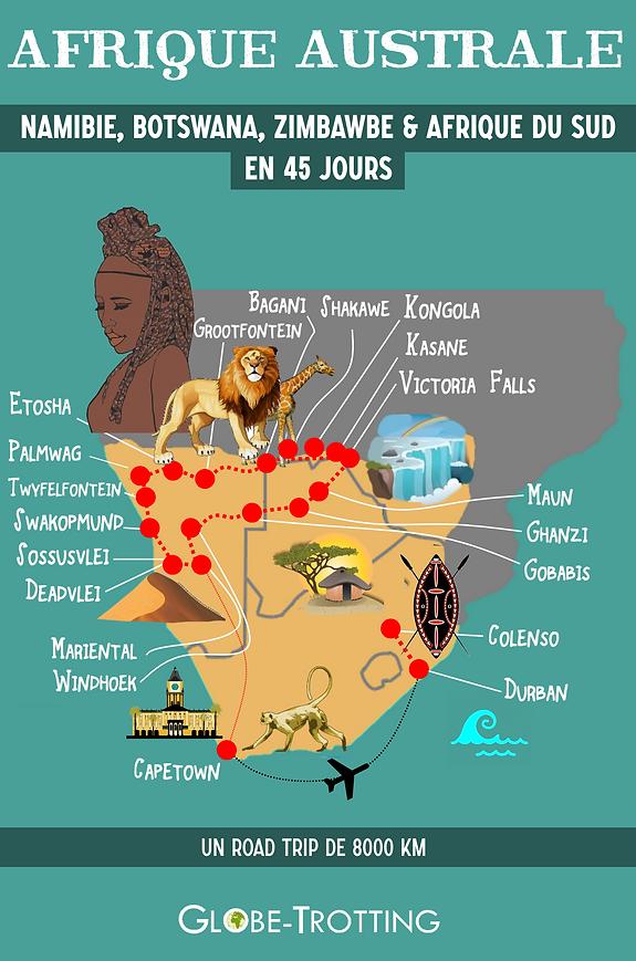 NAMIBIE BOTSWANA AFRIQUE DU SUD Itinéraire