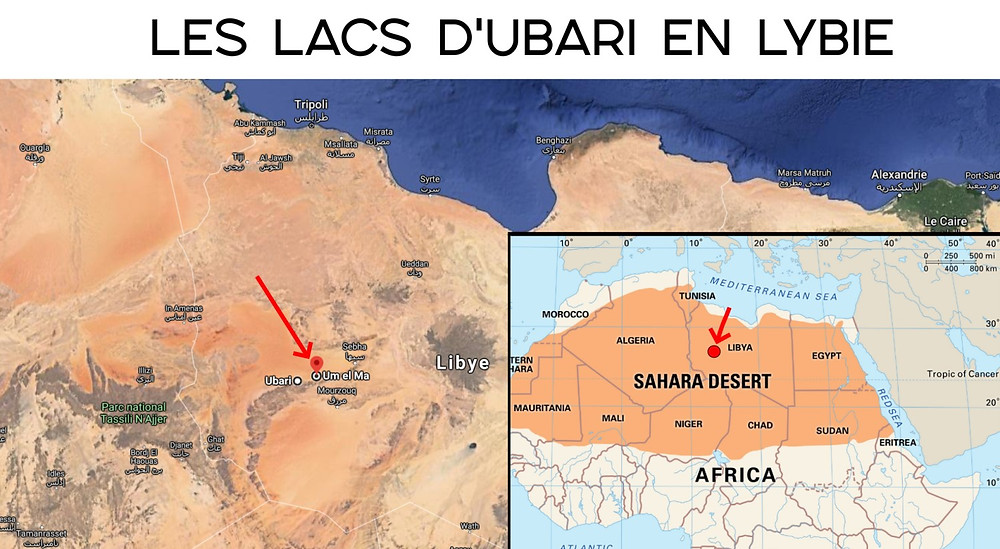 Carte Lacs d'Ubari et Lac Um El Ma Lybie
