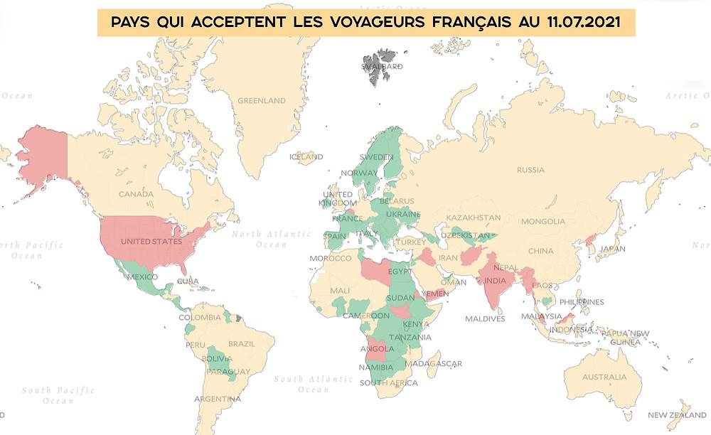 Carte pays acceptent voyageurs français