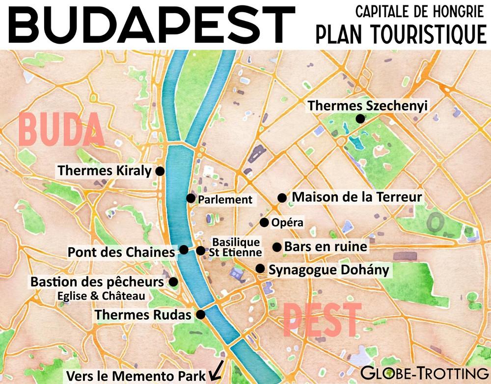 Plan touristique de Budapest