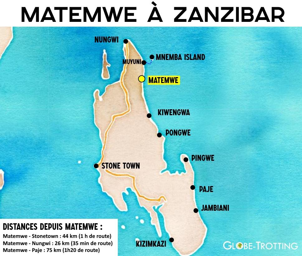 Carte de Matemwe à Zanzibar