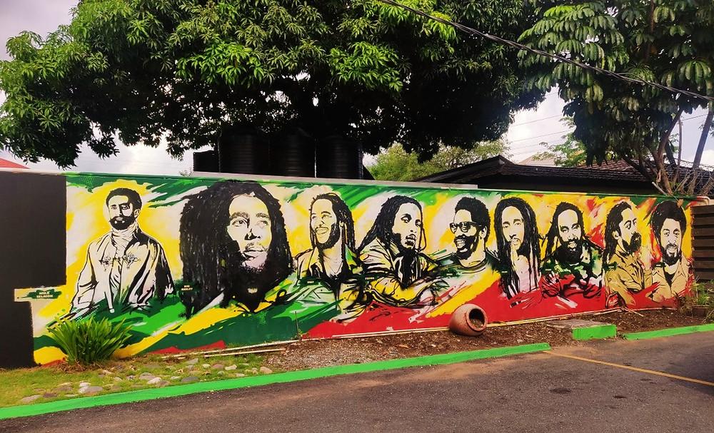 Kingston Jamaïque Musée bob marley fresque