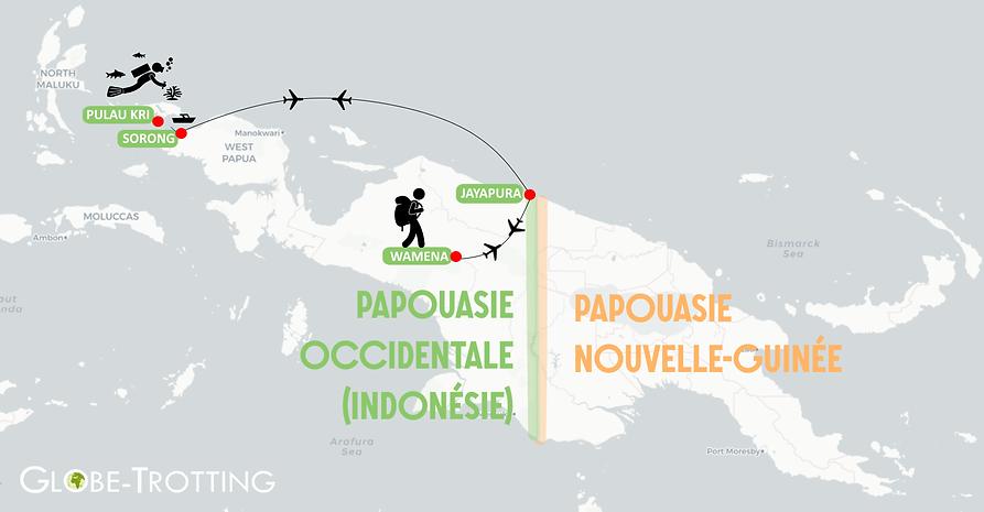 Itinéraire en Papouasie, raja ampat, vallée de baliem,  indonésie