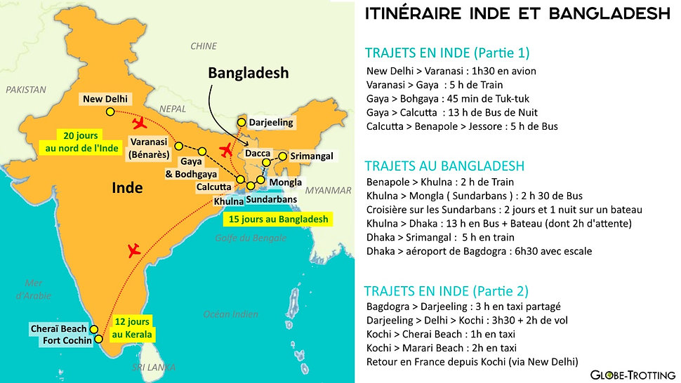 Carte inde bangladesh itineraire