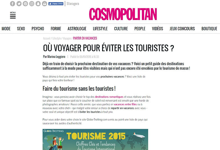 Globe Trotting blog voyage article de Presse