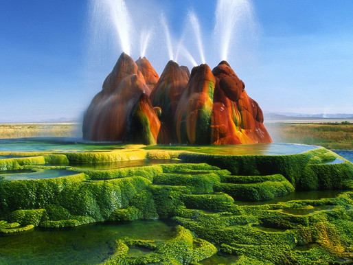 Le Fly Ranch Geyser du désert Black Rock, Nevada, Etats-Unis