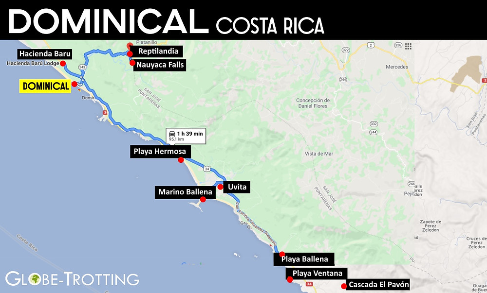 Que faire à Dominical Costa Rica Carte
