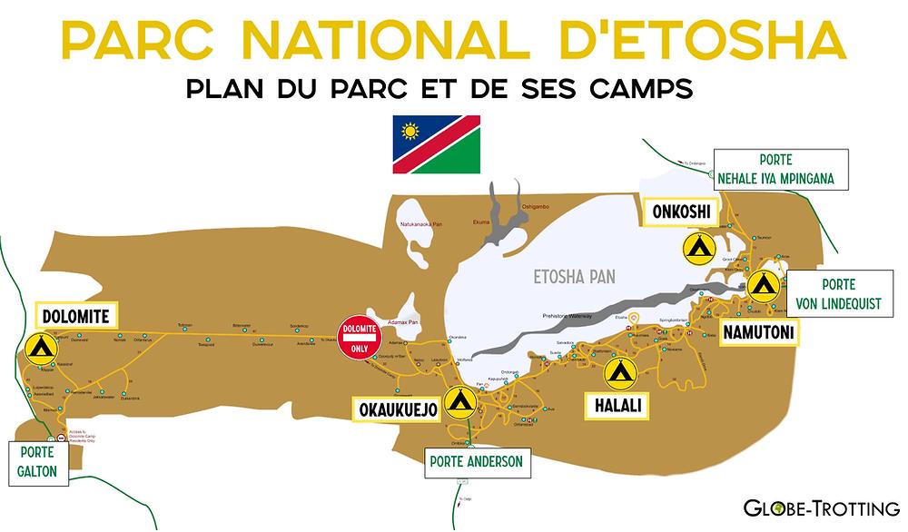 Parc Etosha Plan Carte Namibie