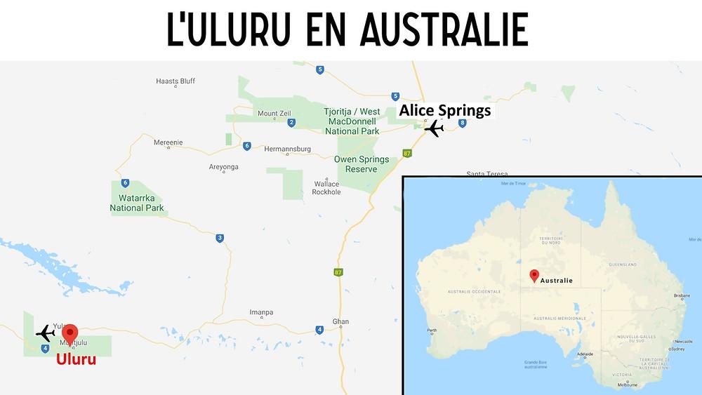 carte uluru australie