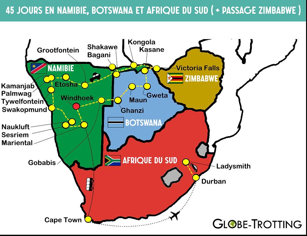 Itinéraire namibie botswana afrique sud zimbabwe