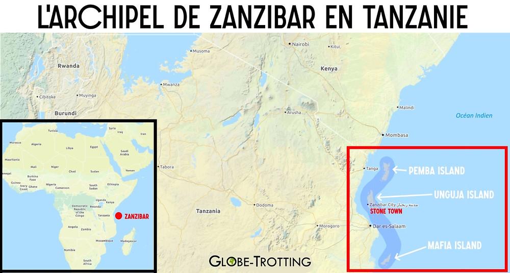 Carte archipel de Zanzibar