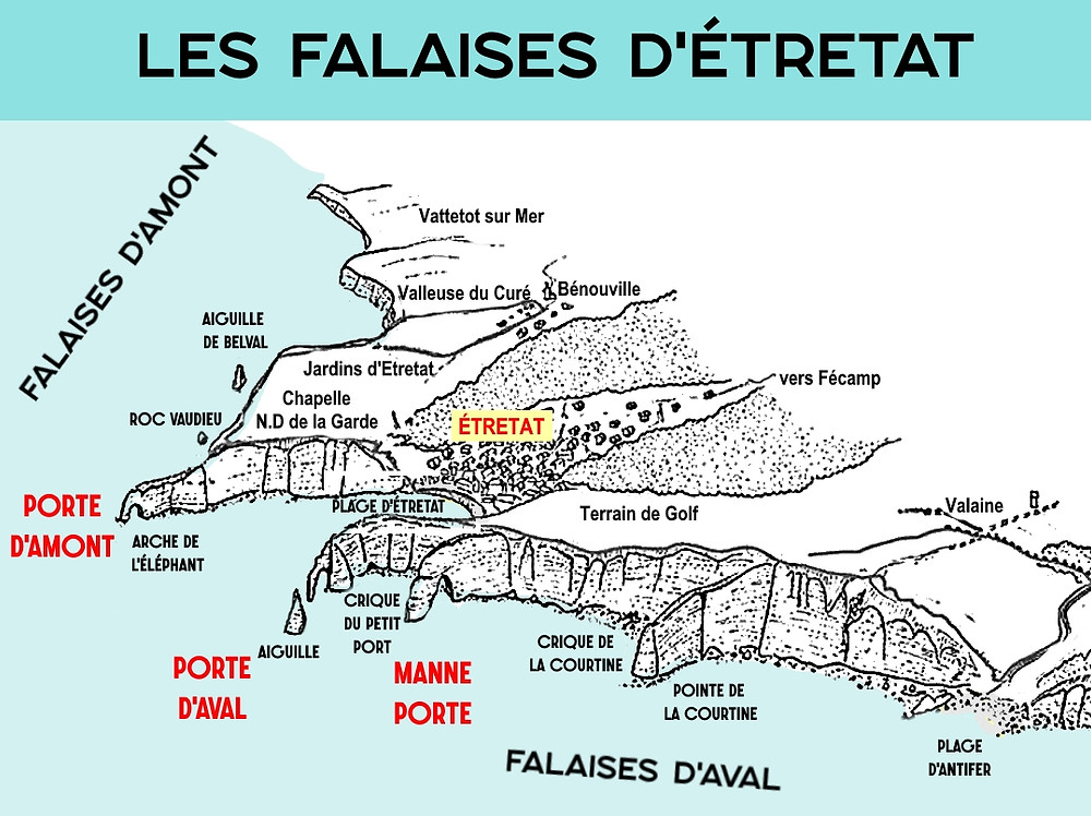 Carte falaises d'Etretat map