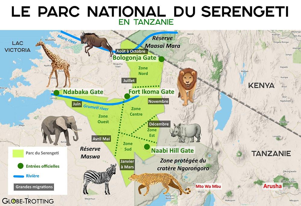 plan du parc national du Serengeti