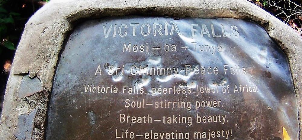 Plaque Sri Chinmoy chutes Victoria