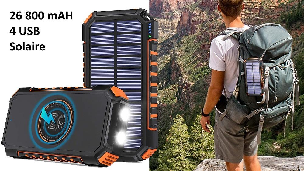 batterie externe voyage étanche solaire 26800 mah