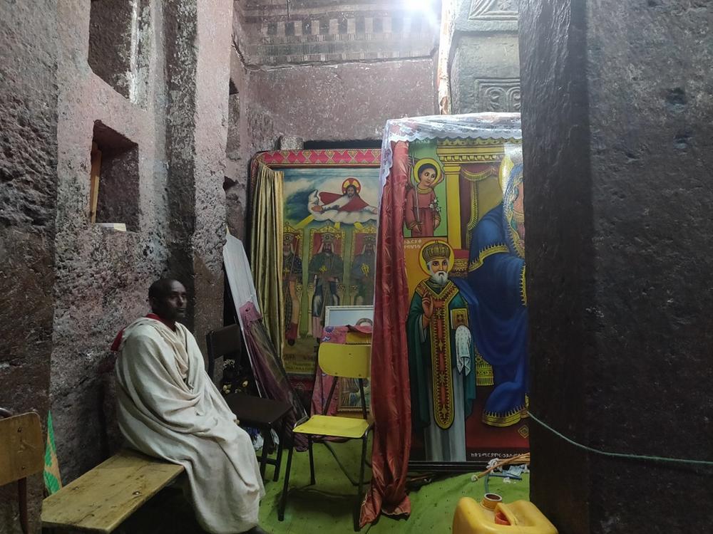 intérieur Bete gyorgis en Ethiopie