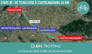 Etape 1 : De Toulouse à Castelnaudary à vélo