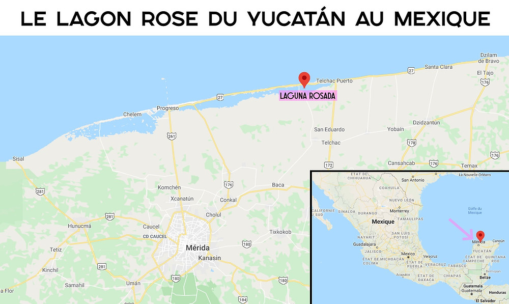 Carte Lagon rose du Mexique