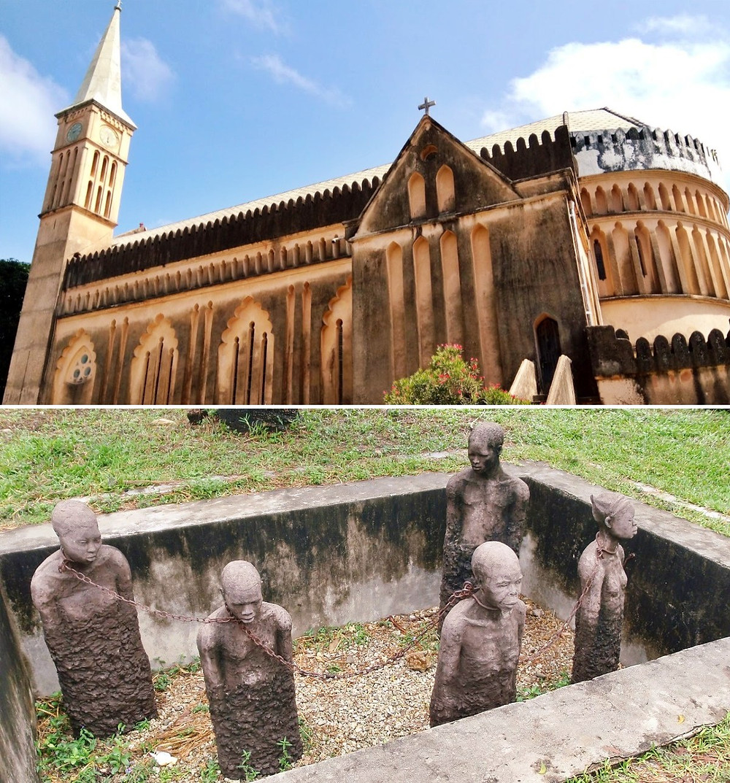 mémorial des esclaves et l'église anglicane stone town