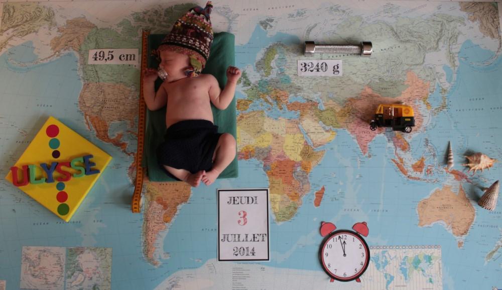 faire part naissance voyage globe trotter