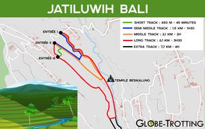 Jatiluwih Bali carte map trek tracks