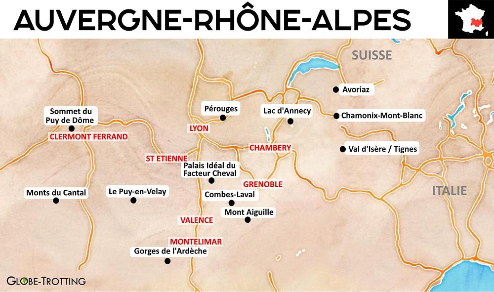 Carte touristique auvergne rhone alpes