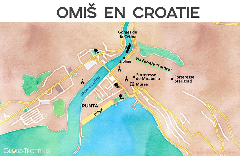 plan de la ville d'Omis en Croatie